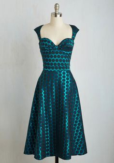 Prove Your Groove Dress in Teal Dots | Mod Retro Vintage Dresses | ModCloth.com