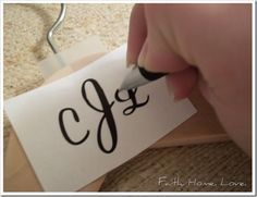 Custom hangers for the bridesmaids. So neat! This, but with the wood burning kit instead