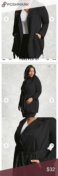Forever 21 Plus Black Belted Trench Coat Worn once.  Super stylish and chic, comfortable, not bulky.  I had a lot of compliments when I wore it.  Washed for sale, pics of actual coat will be up this evening after I iron it.  Size is a 1x. Forever 21 Jackets & Coats Trench Coats