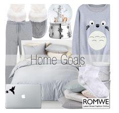 """Romwe Grey Cartoon Print Sweatshirt"" by fattie-zara ❤ liked on Polyvore featuring Victoria's Secret, NIKE, Reed & Barton, Room Essentials, Coyuchi and RED Valentino"