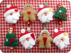 Prendedores decorados de Natal com ímã