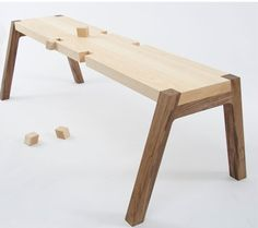 Twin wooden bench by Andrea Rekalidis that turns into a see-saw by swapping the legs, which sit in notches in the seat plank. Maple Furniture, Kids Furniture, Furniture Design, Used Woodworking Tools, Cool Woodworking Projects, Woodworking Workbench, Woodworking Classes, Woodworking Videos, Plywood Chair
