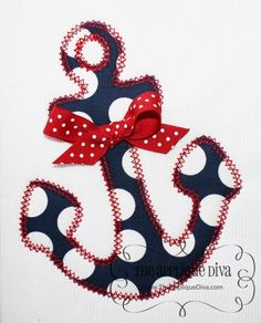 Vintage Girly Anchor-Anchor, sea, beach, girly