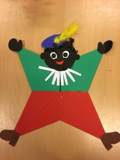Zwarte Piet Gevouwen van 4 vliegers Fall Crafts, Arts And Crafts, Baby Kids, December, Diy, Coaching, Kindergarten, Shell, Iphone