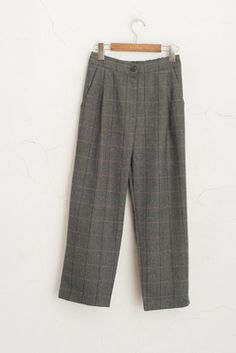 Wool Blend Check Trousers, Charcoal