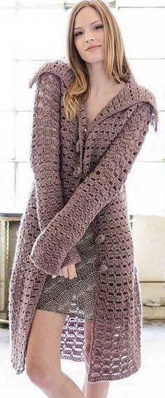 ideas crochet jacket coat free knitting for 2019 Gilet Crochet, Crochet Shirt, Crochet Jacket, Crochet Cardigan, Unique Crochet, Beautiful Crochet, Mode Crochet, Gilet Long, Cardigan Pattern