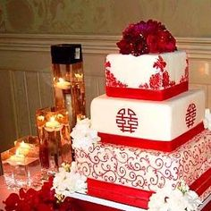 Asian theme wedding cake idea