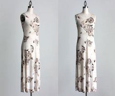 CREAM MAXI DRESS 1990s Vintage Cream And Ecru Floral by decades, $28.00