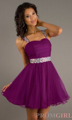 Short Strapless Purple Party Dress, Homecoming Dresses- PromGirl