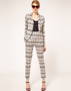 ASOS Throw On Blazer In Chevron Print- loving the same pattern on both the blazer and pant!
