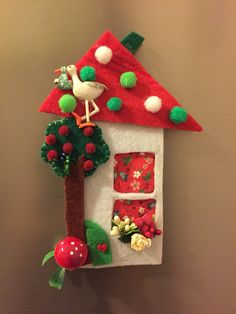 Set of ten houses of rainbows roofs Christmas ornaments Frozen Decorations, Christmas Table Decorations, Felt Christmas, Christmas Crafts, Christmas Ornaments, Felt Magnet, Creative Christmas Gifts, Felt House, Felt Crafts Diy