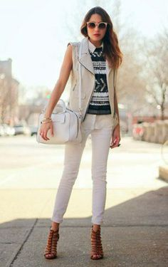 This outfit has a little something preppy, boho and rocker-ish going on, but somehow it all works. Must be the white jeans.