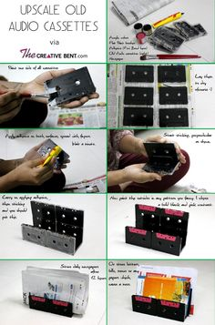 Recycling old audio cassettes ideas, DIY newspaper holder http://thecreativebent.com/easy-diy-recycling-old-audio-cassette-tapes/