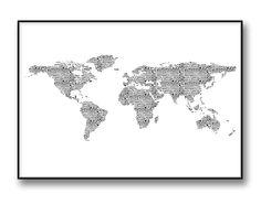 """""""Animals World Map"""" svartvitt världskarta poster / tavla"""