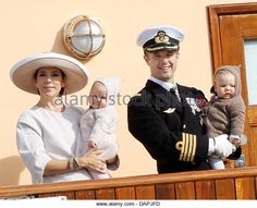 Danish Crown Prince Frederik and Crown Princess Mary at the royal yacht Dannebrog with their children Prince Vincent - Stock Image