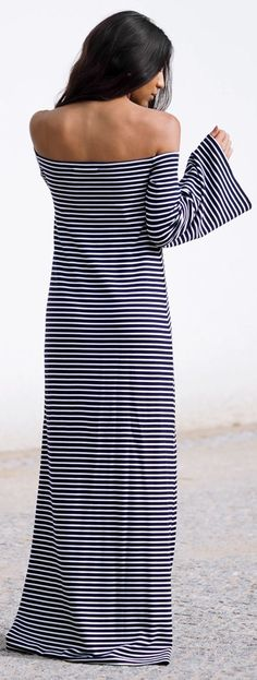 Not Your Standard B W Striped Strapless Floor Length Maxi Dress #Fashionistas