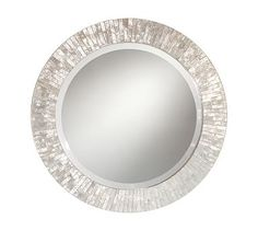 Amazing fading grey shades I like. Miranda Capiz Round Mirror #potterybarn