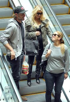 Jessica Simpson with her beau Eric Johnson and friend leaving the Cheesecake Factory.