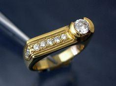 Custom 14k Gold / Diamond Asymetrical Ring