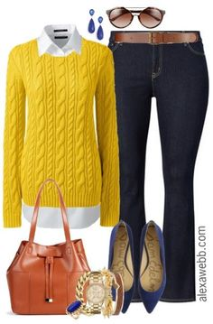 """Put a little """"prep"""" in your step for spring! A little preppy and a totally classic combination of a plus size cable sweater, white button down, and a timeless boot cut dark jean. The bright yellow and cobalt make it anything but boring! This outfit is perfect for weekend wear or casual Fridays at the… Read More"""