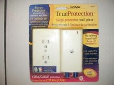 Noma CSA approved True Protection surge protector wall plate for Cable TV and Internet.  No wiring required! Only $25.
