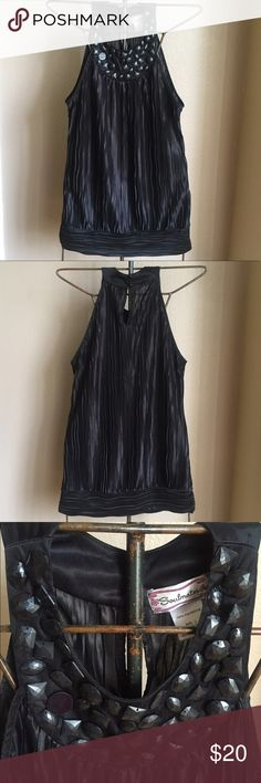 Blouse Sleeveless black soul mates top made of rayon with beaded front. Soulmates Tops Blouses