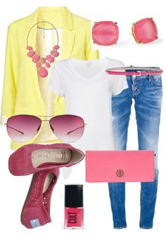 """Great color combo for Spring :) Pinner says """"yellow & coral"""" but it sure looks yellow and pink to me. Switch out jeans for white pants for summer at the office. Fashion Casual, Look Fashion, Casual Chic, Casual Outfits, Cute Outfits, Fashion Outfits, Womens Fashion, Casual Fridays, Outfit Jeans"""