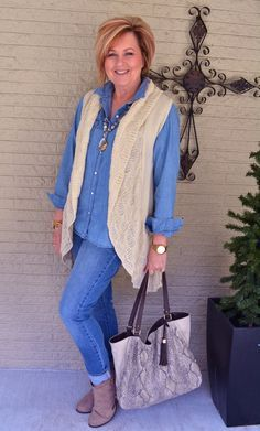 50 Is Not Old   See In The Mirror   Denim on Denim   Vest   Fashion over 40 for the everyday woman