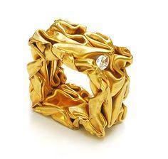 Yael Herman. Ring: Crushed ring, 2008. 22k gold, marquise diamond. 2.8 x 2.8 x 1.5 cm.