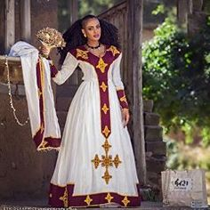 Habesha Fashion Friday 💛❤️ meskel Kemis perfection by Ethiopian Wedding Dress, Ethiopian Dress, Ethiopian Traditional Dress, Traditional Dresses, African Dresses For Women, African Wear, Habesha Kemis, Eritrean, Moroccan Kaftan Dress