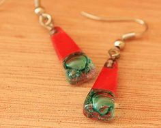Fused Glass Earrings in Dramatic Red and Teal with Rising Bubbles, Gift Idea for Fresh Mother's Day Style, Red Glass Jewelry  3420