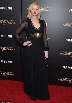 Inspiration: Jennifer Lawrence played up her vampy side in a revealingly sheer black gown at the NY premiere of The Hunger Games: Mockingjay - Part 2 on Wednesday