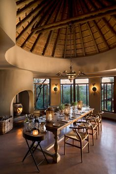 EXPEDITION Collection ~ Sunday, a day for giving thanks. (Image of Madikwe Dithaba Lodge in South Africa.) We ship World Wide. African Interior Design, African House, Sweet Home, Bamboo Architecture, African Home Decor, Lodge Style, Lodge Decor, Round House, Cabana