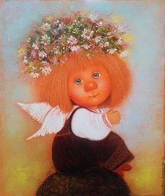Купить Ладушки - картина маслом - картина ладушки, ладушки, ангелочек, картина масло, картина для интерьера