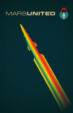 Retro Posters of Airline to Mars... Like color spectrum, velocity, fonts...