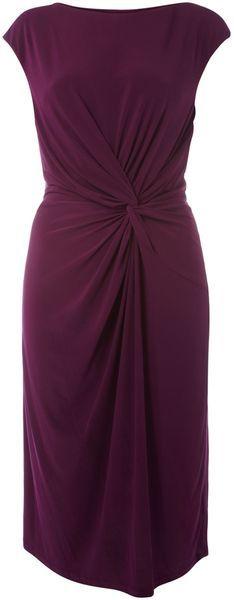 Linea Twist Front Slash Neck Dress in Purple - Lyst