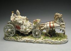 San Marco Capodimonte Dresden Lace Porcelain Victorian Lady in Carriage Figurine #Victorian #SanMarco