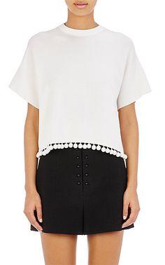 Proenza Schouler Pom-Pom-Embellished Crop Sweater - Crewneck - Barneys.com