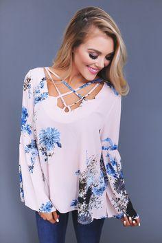 Blush/Blue Floral Cross Front Blouse - Dottie Couture Boutique