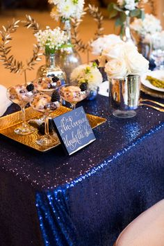 Elegant & Sparkly Barn Wedding Ideas in Gold & Blue - Wedding Colors Navy Blue And Gold Wedding, Royal Blue And Gold, Blue Bridal, Navy Gold, Wedding White, Royal Navy, White Gold, Blue Party Decorations, Wedding Decorations