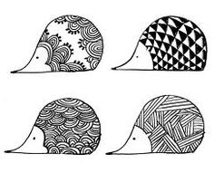 herisson. Zentangle hedgehogs!                                                                                                                                                                                 More