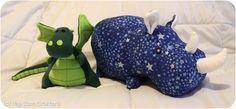 DIY dragon and rhino stuffed animals