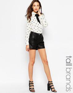 Noisy May Tall Leather Look Shorts