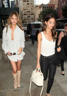 Dip-low. #ChrissyTeigen got Givenchy-d and pretty much nothing  else in this street style shot in NYC