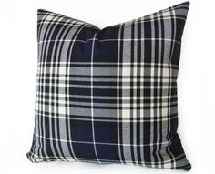 Navy Blue White Plaid Pillow 18x18 Coastal by PillowThrowDecor