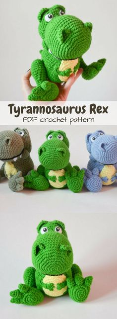 T-Rex Dinosaur crochet pattern. Make your own tyrannosaurus rex stuffed animal. This guy looks so much like the dinosaur toy from Toy Story! #etsy #ad #amigurumi #pdf #crochet #pattern #diy #instant #download #printable