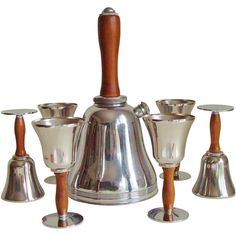 Iconic American Art Deco Seven-Piece Town Crier Cocktail Set by Keystone Silver | From a unique collection of antique and modern barware at https://www.1stdibs.com/furniture/dining-entertaining/barware/