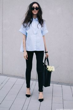 boxy oxford shirt and black skinnies