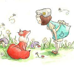 fox & girl print