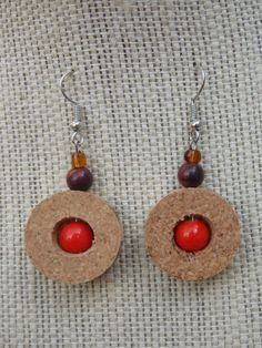Up-cycled Wine Cork earrings: Fall Harvest